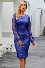 블루 스팽글 술 소매 Bodycon 댄스 파티 드레스