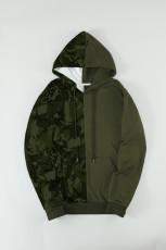 Ανδρική κουκούλα Green Camo Colorblock με τσέπη καγκουρό