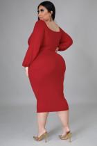 赤い長袖フロントノットプラスサイズのミディドレス