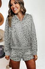 Leopard tvådelad långärmad huva och shortslounge med shorts
