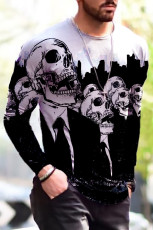 Miesten 3D Halloween Skull Print -neulottu pitkähihainen t-paita