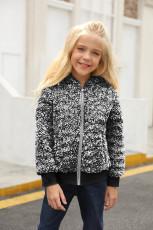 Μαύρο κορίτσι Faux Fur Bomber Jacket