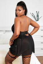 Zwarte plus size zwarte mesh & Venice geborduurde kanten babydoll