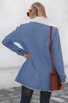 Sky Blue Lapel Collar Button Fleece Jacka