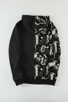 Ανδρικό φούτερ μαύρο Camo Colorblock με τσέπη καγκουρό