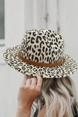 Beige Fedora mössa med bred rand i leopardmönster