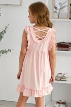 Vaaleanpunainen röyhelö Empire vyötärö laskostettu virtaava lasten mekko