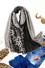 Svart halsduk med leopardtryck