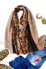 Khaki leopardfärgad halsduk