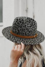 Grå, bred randig leopardmönster med Fedora