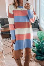 Abito maglione a maniche lunghe colorblock arcobaleno