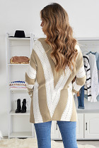 카키 스트라이프 컬러 블록 브이넥 니트 스웨터
