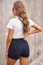 Pantaloncini da salotto con risvolto con tasche laterali in vita da annodare blu