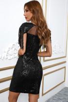 Μαύρο Sequin Mesh Patch Bodycon Mini φόρεμα με φούντα
