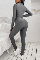Graues zweiteiliges Crop-Top und Leggings mit hoher Taille Yoga Wear Trainingsanzug-Set