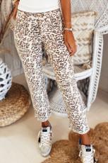 Byxor med raka ben i leopardfoder