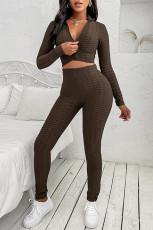 Braunes zweiteiliges Crop-Top und Leggings mit hoher Taille Yoga Wear Trainingsanzug-Set