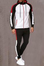 メンズフード付きカラーブロックスウェットシャツスポーツスーツ
