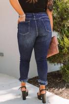 Skinny Jeans in Übergröße mit mittlerer Taille und ungehobeltem Saum