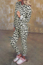 Leopardmönstrad huva och tunna byxor Loungewear