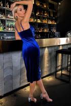 Blå djup V -ringad paljett sidoklänning med spaghettiband, midiklänning