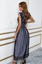 블랙 하이 넥 민소매 크로셰 레이스 메쉬 안감 이브닝 드레스