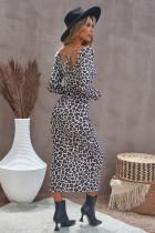 Leopard Crewneck långärmad spetsig uppdelad bodycon klänning