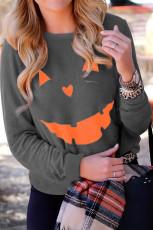 Harmaa Halloween Pumpkin Print Pullover -paita