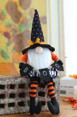 Svart Halloween Wizard Gnomes Plysch Doll Holiday Decor