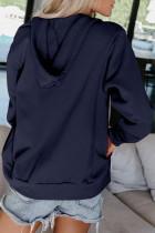다크 블루 집업 포켓 드로스트링 후디 재킷