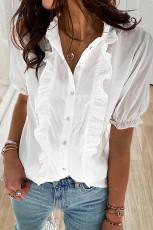 화이트 러플 버튼 다운 셔츠