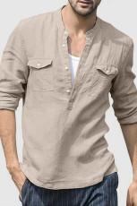 Beige halvknapp långärmad herrskjorta med ficka