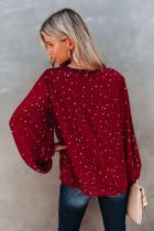 Kırmızı V Yaka Yıldız Desenli Dalgalı Kollu Bluz
