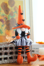 Orange Halloween Witch Gnomes Plysch Doll Holiday Decor