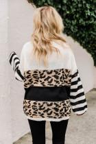 슬루시 드롭 숄더 레오파드 스트라이프 컬러블록 스웨터