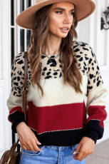 레드 레오파드 컬러 블록 드롭 숄더 긴팔 니트 스웨터