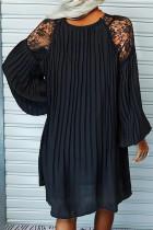 플리츠 레이스 패치워크 랜턴 슬리브 미니 드레스