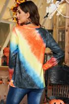 絞り染めのカボチャハロウィンプリントグラフィックスウェットシャツ