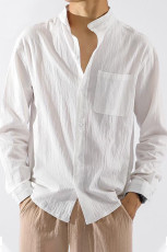 Weißes, festes Baumwollmischung Stehkragen Herren Hemd