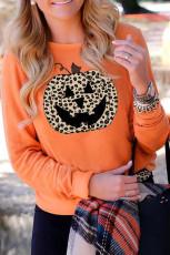 オレンジハロウィンヒョウパンプキンフェイススウェットシャツ
