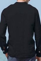 Svart halvknapp långärmad herrskjorta med ficka