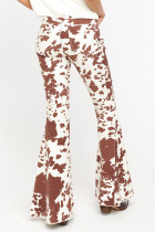 Brown Cow Print High Waisted Flared Pants