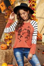 Halloween Skeletons Stripes Leopard pitkähihainen toppi