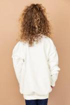 Valkoinen ruudullinen kurpitsapainettu tyttöjen villapaita
