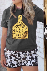 Yksivärinen Ox Horn Tag Graphic Grey T -paita