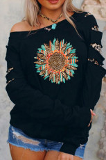 Ripped Sleeve Serape Leopard Sunflower Graphic -paita