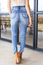 Sky Blue Button Fly Distressed Skinny Jeans