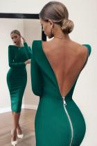 Vihreä pitkähihainen vetoketju auki takaisin lyijykynä Bodycon midi mekko