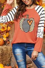 Halloween Pumpkin Stripes Leopard pitkähihainen paita