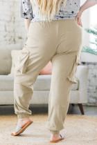 Khaki Elastisk midjeficka i sidoficka Joggerbyxor i plusstorlek